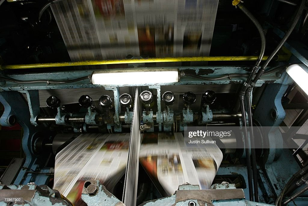 Freshly printed copies of the San Francisco Chronicle run through the printing press at one of the Chronicle's printing facilities September 20, 2007 in San Francisco, California. Newspaper sales in the U.S. continue to slide as people turn to the internet and television for their news. The Chronicle saw its circulation plunge more than 15 percent in 2006 to 398,000 during the week which has hurt newspaper vendor Rick Gaub's business. Unable to sell as many papers as he used to, Gaub is looking for a new way to earn money after selling papers for 42 years.