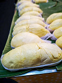 Freshly picked and peeled Durian fruit for sale in a Northern Thai, Chiang Mai market. The Durian is famously sought after by Thais and foreigners alike and is a seasonal fruit that is harvested in Th