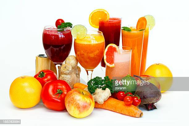 Freshly squeezed fruit and vegetables cocktails