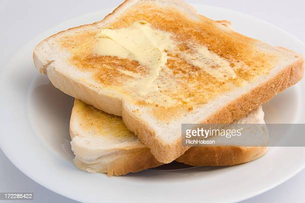 Freshly toasted bread smothered in creamy butter