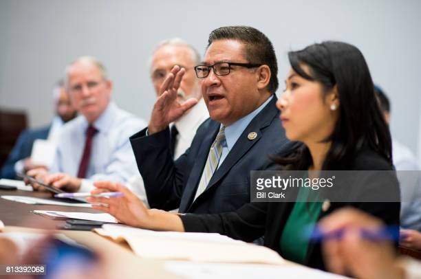 Freshman member Rep Salad Carvajal DCalif speaks during the Bipartisan Working Group's meeting on Wednesday morning July 12 in the Cannon House...