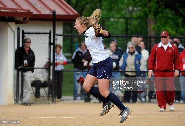 Freshman pitcher Jessica Rhoads of Messiah College celebrates the final out of their win over Coe College during the Division III Women's Softball...