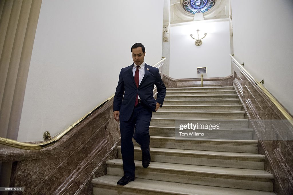 Freshman Rep. Joaquin Castro, D-Texas, descends a staircase in the Capitol on the day the 113th Congress was sworn in.