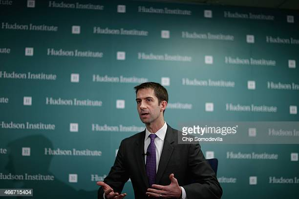 Freshman US Sen Tom Cotton participates in a conversation about American foreign strategy and statesmanship at the Hudson Institute March 18 2015 in...
