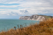 The chalk cliffs at Freshwater Bay on the Isle of Wight