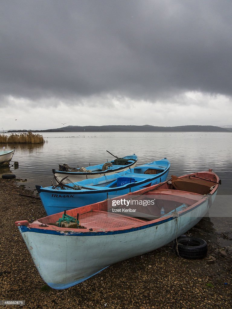Freshwater fishing boats lake uluabat bursa stock photo for Lake fishing boats