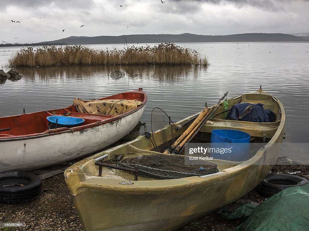 Freshwater fishing boats lake uluabat bursa stock photo for Freshwater fishing boats