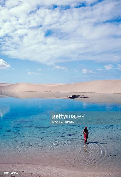 Freshwater lake formed by precipitation Lencois Maranhenses national park Maranhao state Brazil