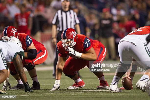 Fresno State Bulldogs offensive lineman Micah St Andrew gets set at the line prior to the snap during the game between the Fresno State Bulldogs and...