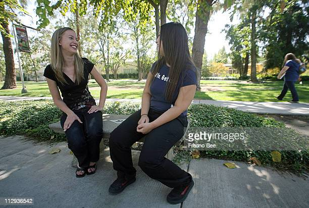 Fresno State student Leslie Thompson left laughs with her friend Vanessa Schneider October 3 2007 Thompson is one of the students who have taken the...