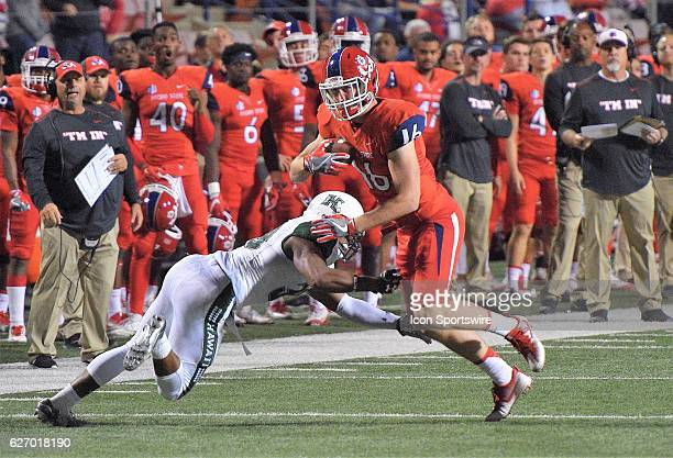 Fresno State tight end Jared Rice during the game between the Fresno State Bulldogs and the Hawaii Rainbow Warriors on November 19 2016 Hawaii...