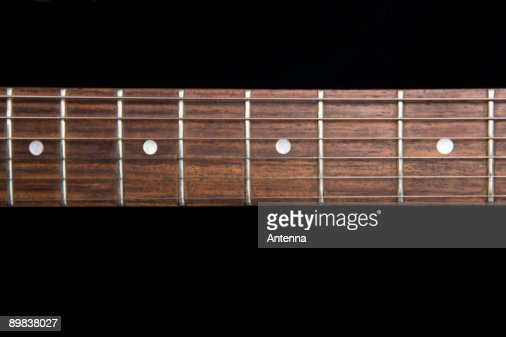 Fretboard of an electric guitar