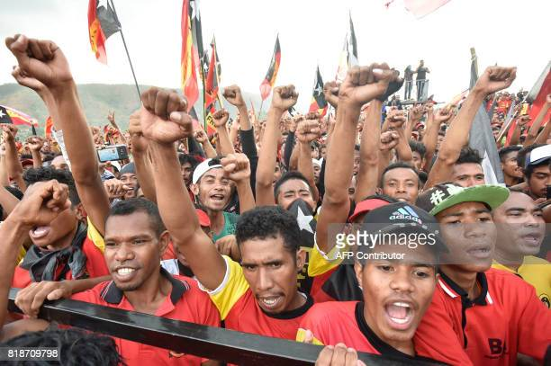 Fretilin party supporters participate in an election campaign rally in Dili East Timor on July 19 2017 East Timor's parliamentary election will take...
