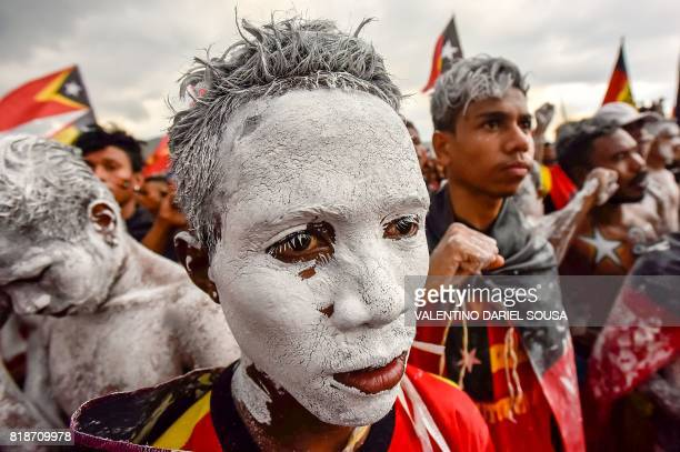 TOPSHOT Fretilin party supporters participate in an election campaign rally in Dili East Timor on July 19 2017 East Timor's parliamentary election...