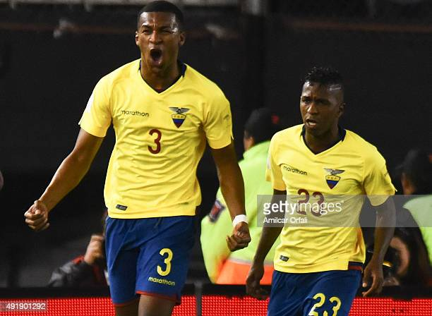 Frickson Erazo of Ecuador celebrates after scoring the first goal of his team during a match between Argentina and Ecuador as part of FIFA 2018 World...