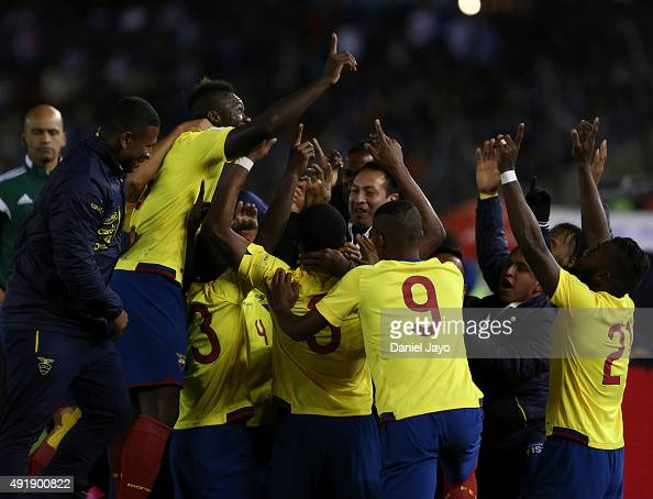 Frickson Erazo of Ecuador celebrates with teammates after scoring the first goal during a match between Argentina and Ecuador as part of FIFA 2018...