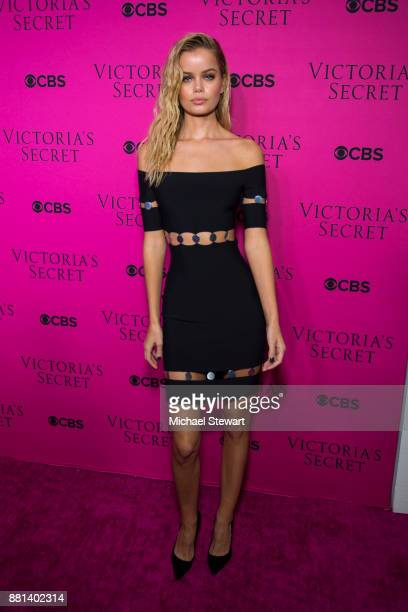 Frida Aasen attends the 2017 Victoria's Secret Fashion Show viewing party pink carpet at Spring Studios on November 28 2017 in New York City