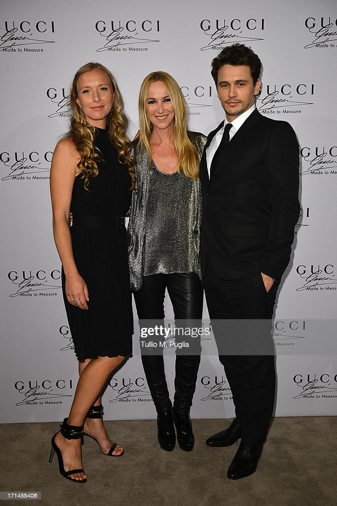 Frida Giannini, James Franco and guest (L) attend 'Gucci Made to Measure Launch' on June 24, 2013 in Milan, Italy.