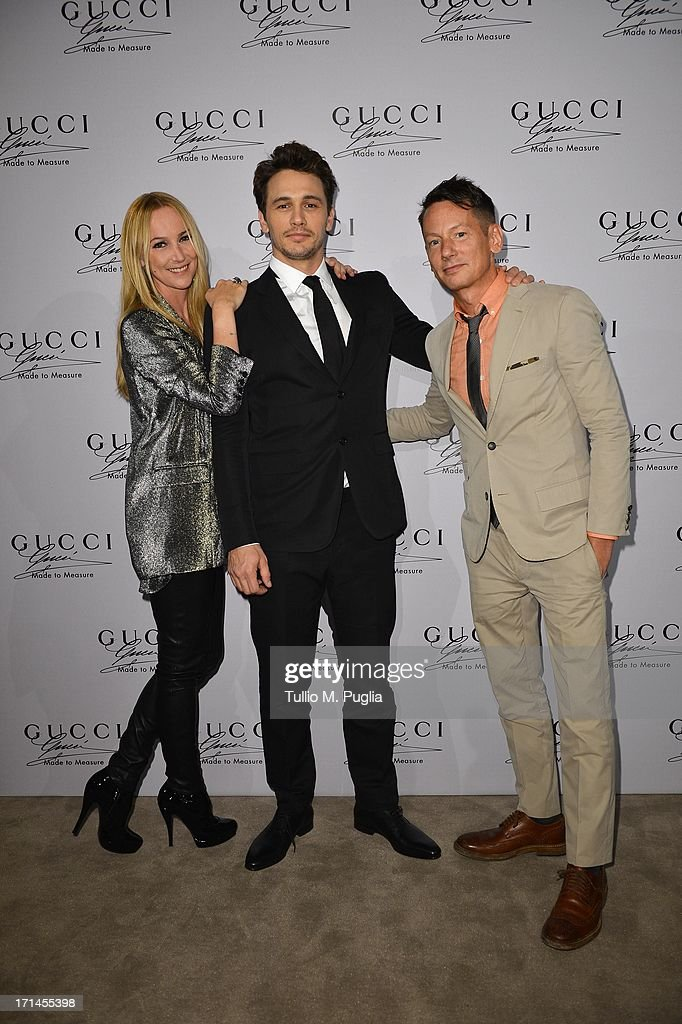 Frida Giannini, James Franco and Jim Nelson attend 'Gucci Made to Measure Launch' on June 24, 2013 in Milan, Italy.