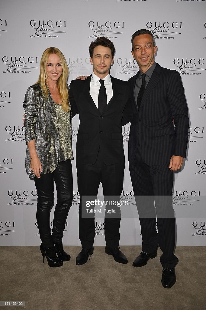 Frida Giannini, James Franco and Luigi Feola attend 'Gucci Made to Measure Launch' on June 24, 2013 in Milan, Italy.