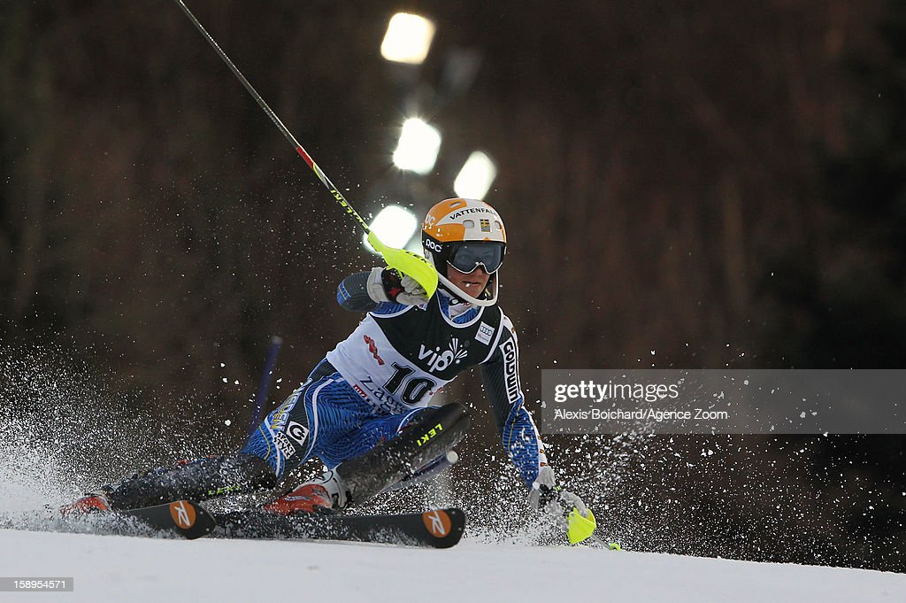 Frida Hansdotter of Sweden competes during the Audi FIS Alpine Ski World Cup Women's Slalom on January 4, 2013 in Zagreb, Croatia.