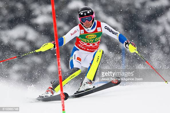 Frida Hansdotter of Sweden competes during the Audi FIS Alpine Ski World Cup Women's Slalom on February 15 2016 in Crans Montana Switzerland