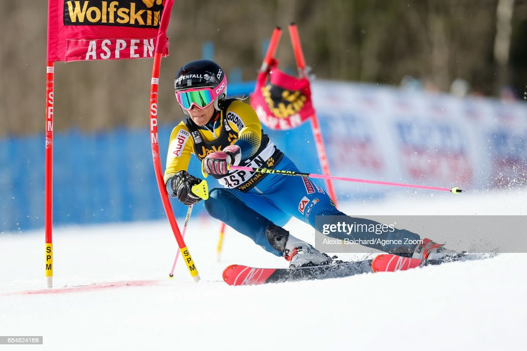 Frida Hansdotter of Sweden competes during the Audi FIS Alpine Ski World Cup Finals Nation Team Event on March 17, 2017 in Aspen, Colorado