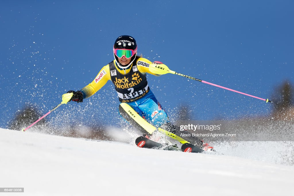 Frida Hansdotter of Sweden competes during the Audi FIS Alpine Ski World Cup Finals Women's Slalom and Men's Giant Slalom on March 18, 2017 in Aspen, Colorado
