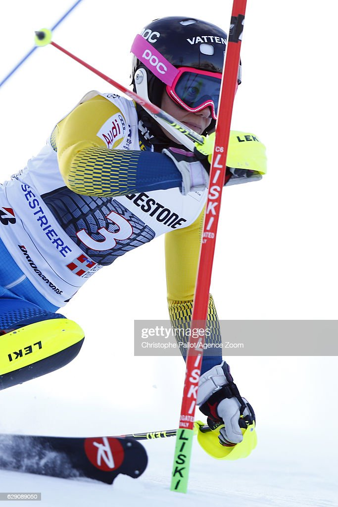 Frida Hansdotter of Sweden in action during the Audi FIS Alpine Ski World Cup Women's Slalom on December 11, 2016 in Sestriere, Italy