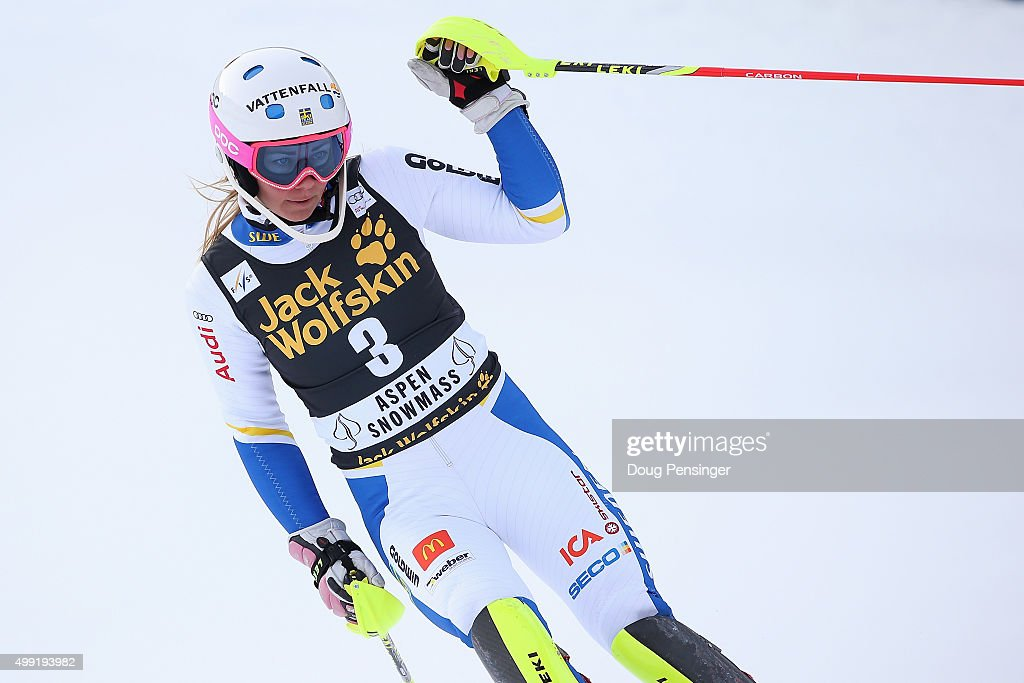 <a gi-track='captionPersonalityLinkClicked' href=/galleries/search?phrase=Frida+Hansdotter&family=editorial&specificpeople=4140483 ng-click='$event.stopPropagation()'>Frida Hansdotter</a> of Sweden reacts after her second run as she finished second in slalom during the Adui FIS Women's Alpine Ski World Cup at the Nature Valley Aspen Winternational on November 29, 2015 in Aspen, Colorado.