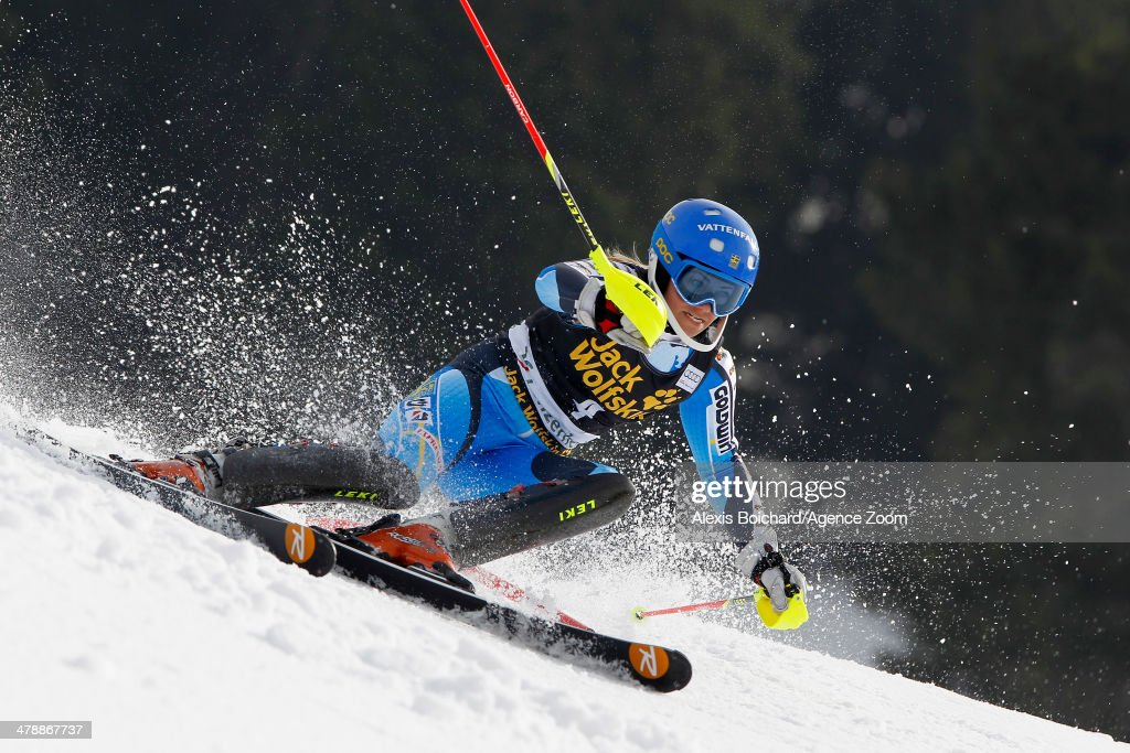 <a gi-track='captionPersonalityLinkClicked' href=/galleries/search?phrase=Frida+Hansdotter&family=editorial&specificpeople=4140483 ng-click='$event.stopPropagation()'>Frida Hansdotter</a> of Sweden takes 2nd place and comes second in the overall slalom World Cup during the Audi FIS Alpine Ski World Cup Finals Women's Slalom on March 15, 2014 in Lenzerheide, Switzerland.