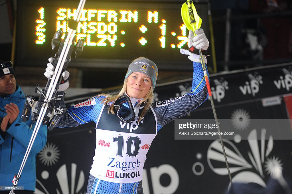 Frida Hansdotter of Sweden takes 2nd place competes during the Audi FIS Alpine Ski World Cup Women's Slalom on January 4, 2013 in Zagreb, Croatia.