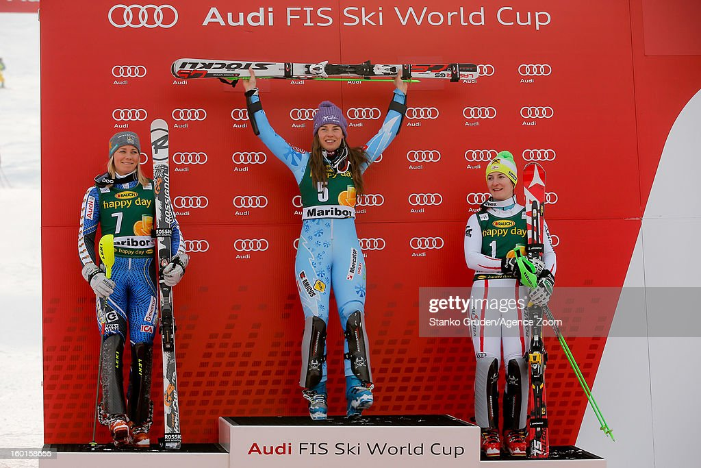 Frida Hansdotter of Sweden takes 2nd place, Tina Maze of Slovenia takes 1st place, Kathrin Zettel of Austria takes 3rd place during the Audi FIS Alpine Ski World Cup Women's Slalom on January 27, 2013 in Maribor, Slovenia.