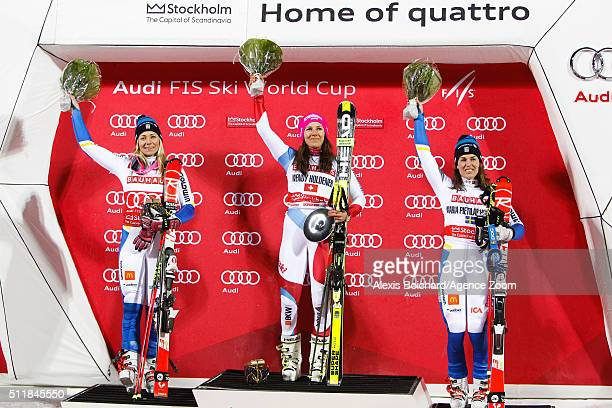 Frida Hansdotter of Sweden takes 2nd place Wendy Holdener of Switzerland takes 1st place and Maria PietilaeHolmner of Sweden takes 3rd place during...
