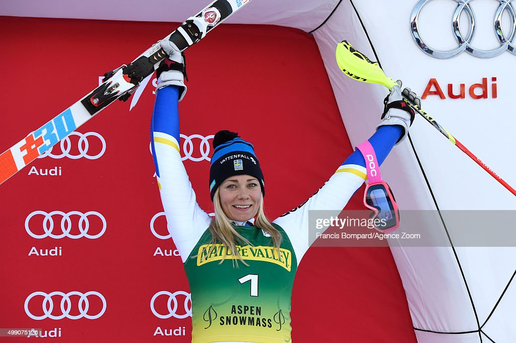 <a gi-track='captionPersonalityLinkClicked' href=/galleries/search?phrase=Frida+Hansdotter&family=editorial&specificpeople=4140483 ng-click='$event.stopPropagation()'>Frida Hansdotter</a> of Sweden takes 3rd place during the Audi FIS Alpine Ski World Cup WomenÕs Slalom on November 28, 2015 in Aspen, Colorado.