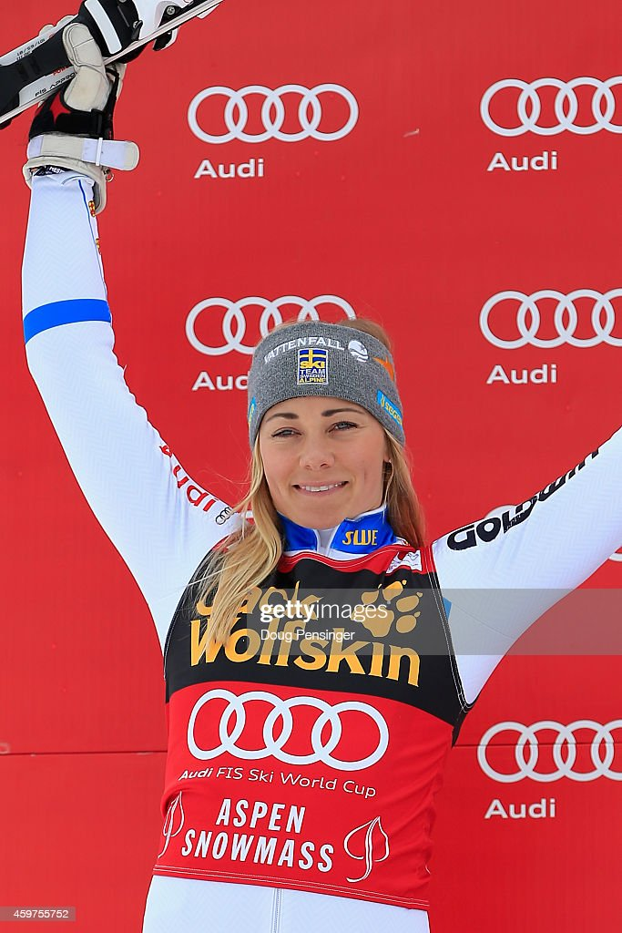 <a gi-track='captionPersonalityLinkClicked' href=/galleries/search?phrase=Frida+Hansdotter&family=editorial&specificpeople=4140483 ng-click='$event.stopPropagation()'>Frida Hansdotter</a> of Sweden takes the podium after her second place finish in the ladies slalom at the 2014 Audi FIS Ski World Cup at the Nature Valley Aspen Winternational at Aspen Mountain on November 30, 2014 in Aspen, Colorado.