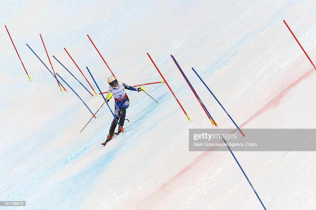 Frida Hansdotter of Sweden wins the bronze medal during the Audi FIS Alpine Ski World Championships Women's Slalom on February 16, 2013 in Schladming, Austria.