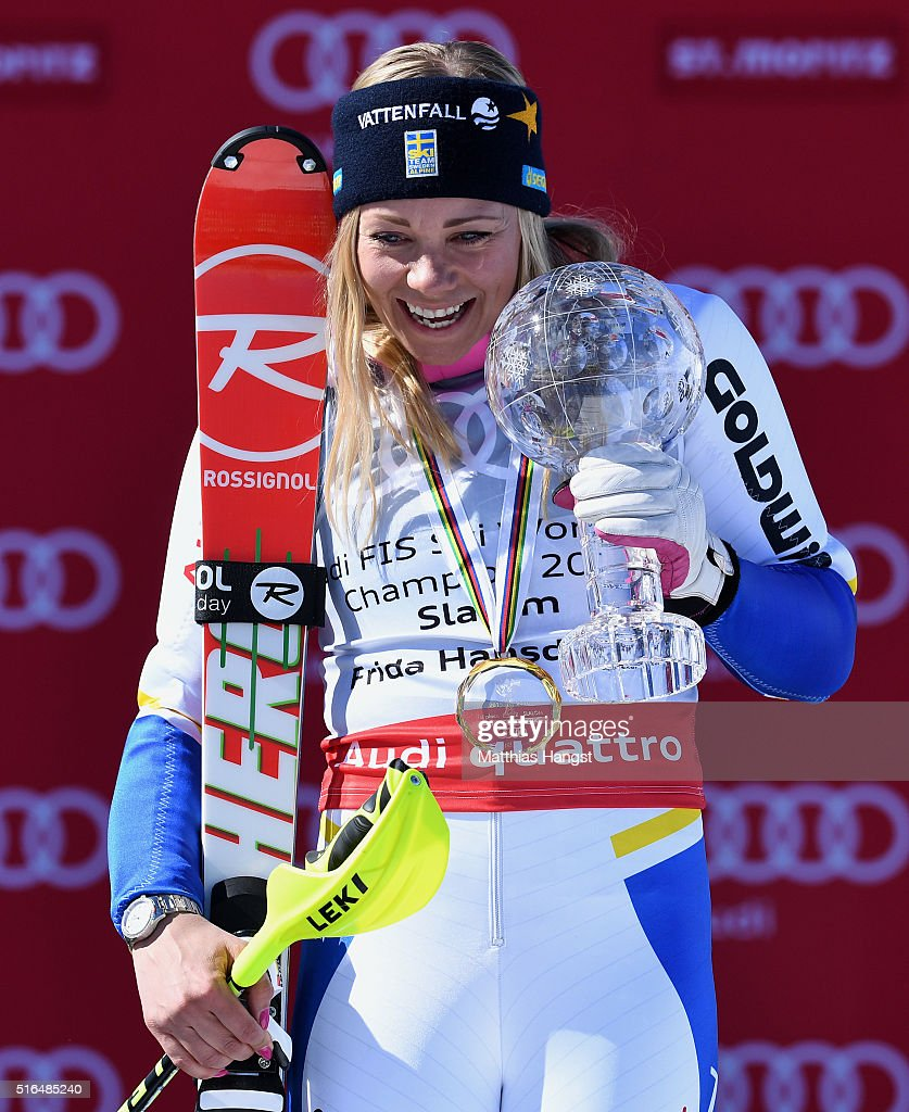 Frida Hansdotter of Sweden wins the slalom crystal globe during the Audi FIS Alpine Ski World Cup Finals Women's Slalom on March 19, 2016 in St Moritz, Switzerland.