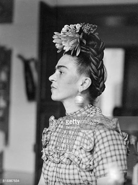 Frida Kahlo Mexican painter and wife of Diego Rivera is shown in this head and shoulders photograph
