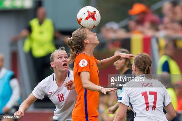 Frida Maanum of Norway and Vivianne Miedema of the Netherlands battle for the ball during their Group A match between Netherlands and Norway during...