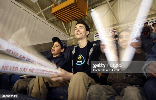 Friday April 16 2010 Portland Pirates fans left to right Taylor Friberg of Searsmont Caleb Smallwood of Portland and Cameron Friberg of Searsmont...