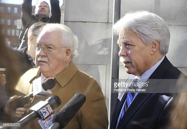 Friday January 18 2013 Defense attorney Dan Lilley and his client Mark Strong speak to the media outside of Cumberland County Court following a...