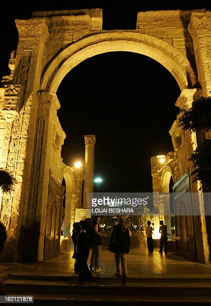 Friday night diners enter through the huge replica archaeological replica archway into the Damascus Gate the world's largest restaurant in Damascus...