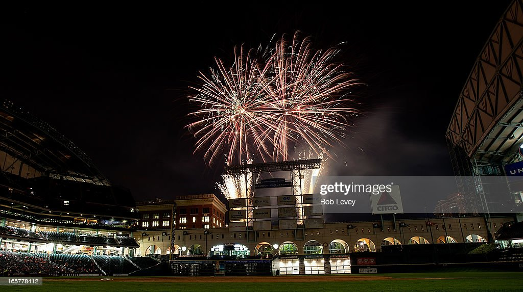 Friday night fireworks after the Oakland Athletics defeated the Houston Astros at Minute Maid Park on April 5, 2013 in Houston, Texas.