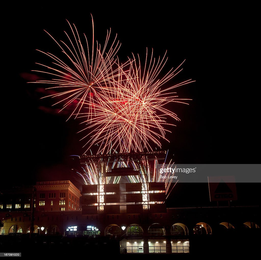 Friday Night Fireworks at Minute Maid Park as te Hosuton Astros defeat the Cleveland Indians 3-2 on April 19, 2013 in Houston, Texas.