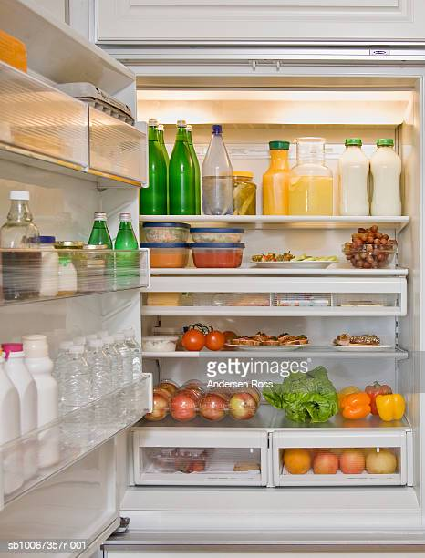 Fridge filled with fruits and vegetables
