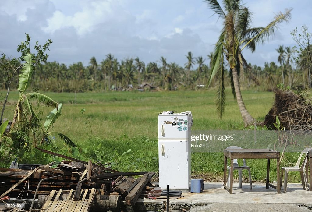 A fridge is seen outside to what was a house on November 20 in Abuyog Philippines Typhoon Hyaina hit the Philippines on November 8 and was recorded...