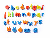 """""""generic plastic magnetic letters, all lowercase characters"""""""