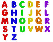 3D render of multicoloured fridge magnet letters isolated on white. Designed to be cropped and used to spell out custom words.