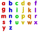 3D render of multicoloured lowercase fridge magnet letters isolated on white. Designed to be cropped and used to spell out custom words.
